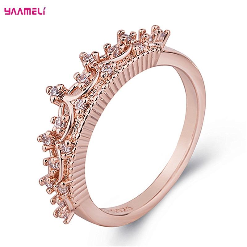 Романтическое серебряное кольцо 925 пробы в форме короны, кубический циркон, драгоценные камни, ювелирные украшения для женщин, свадебные по... недорого