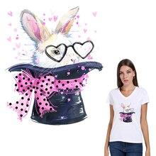 Autocollant lapin mignon sur vêtement T-Shirt   Étiquette de décoration, niveau A, lavable, 2018 nouveaux, Parches Ropa, Applique sur vêtements, cadeaux, diy bricolage