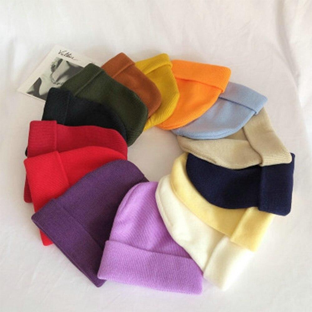 Новинка 2021, зимние шапки для женщин и мужчин, облегающие шапки, вязаная однотонная крутая шапка для девушек, осенняя Женская облегающая шапк...