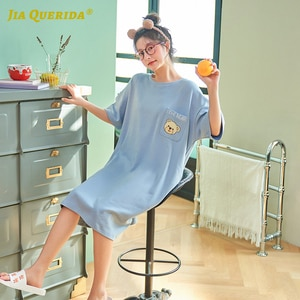 Night Wear Blue Top Nighties for Woman Woman Clothes New Soft Night Gown Woman Cotton Short Sleeve Front Pocket Bear Printing