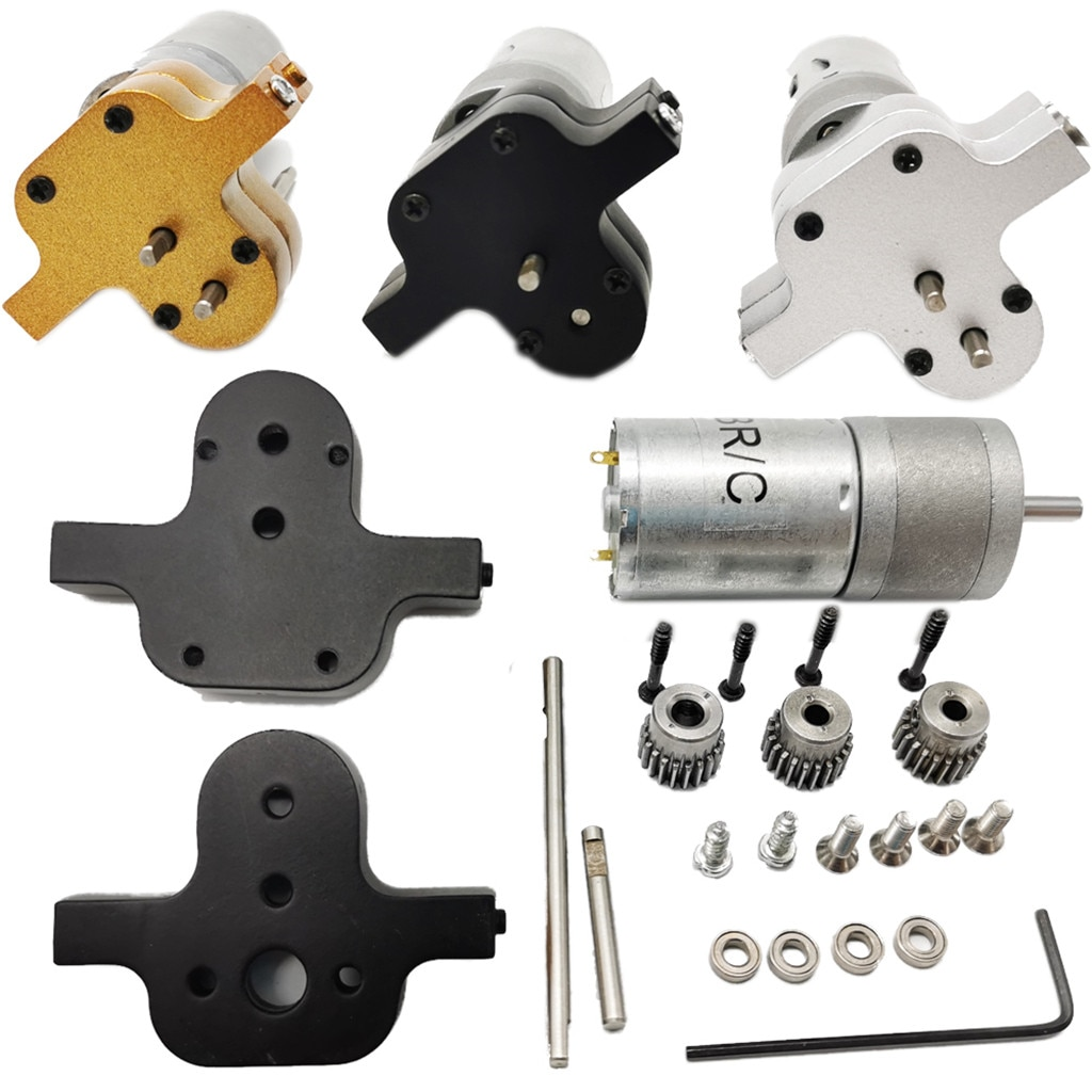 Caja de cambios de transferencia de Metal + 370 Motor de cepillo para WPL B14 B24 C14 MN90 Q60 RC Car RC accesorios de coche piezas de RC