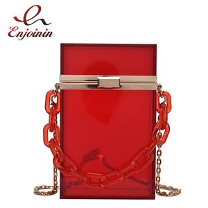 Rectangular Acrylic Box Purses and Handbags for Women Party Evening Clutch Bag Transparent Chain Shoulder Bag Crossbody Bag 2021