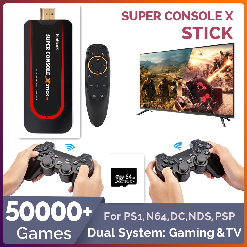 50000+ Games Portable Retro Game Console For PS1/N64/DC Dual System Gaming & TV Mini Video Game Players HD WIFI Wired/Wireless