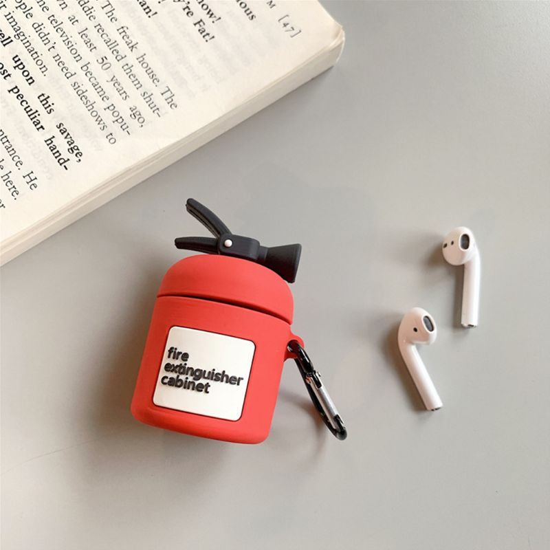 Fire Extinguisher Protective Case Silicone Cover with Carabiner for Airpods 1/2