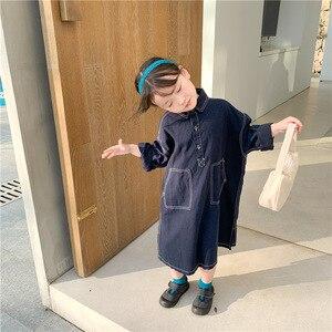 2021 New Girls Spring Lapel Denim Dress