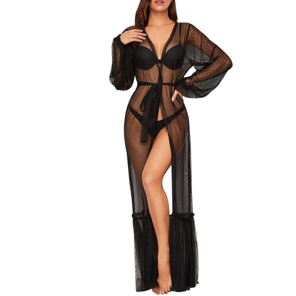 Sexy Womens Lace Mesh Night Dress Robes See-Through Long Maxi Underwear Lingerie Babydoll Sleepwear Nightwear Sleep Dress #L20