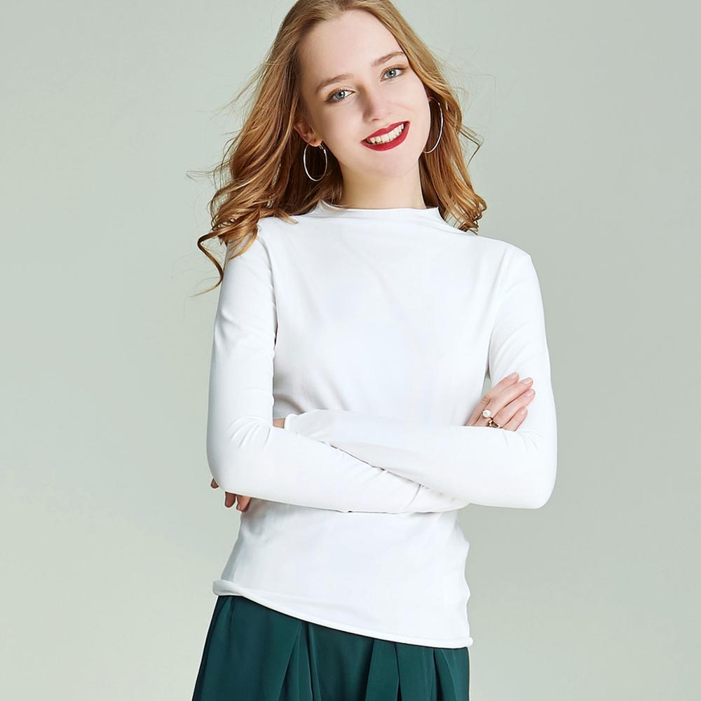 HAVVA mujer cuello redondo de manga larga negro blanco puro Delgado bottoming camiseta primavera T3200