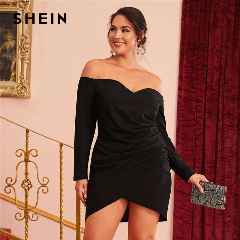 Шеин размера плюс с открытыми плечами крест обёрточная бумага Ruched Detail Bardot вечерние платья черного цвета женские осенние плюс Гламурные сексуальные короткие платья