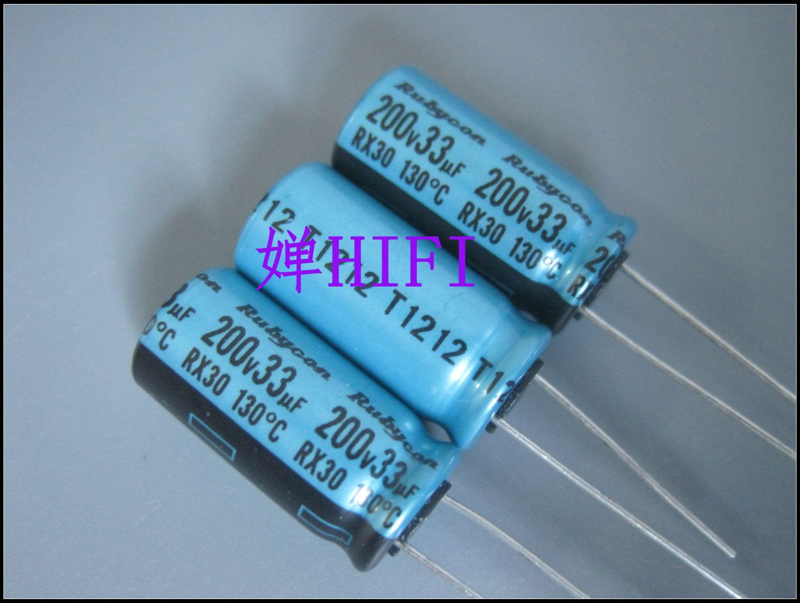 50 Uds nuevo RUBYCON RX30 200V33UF 10X20MM condensador electrolítico rx30 33 uF/200 V 130 grados 33UF 200V