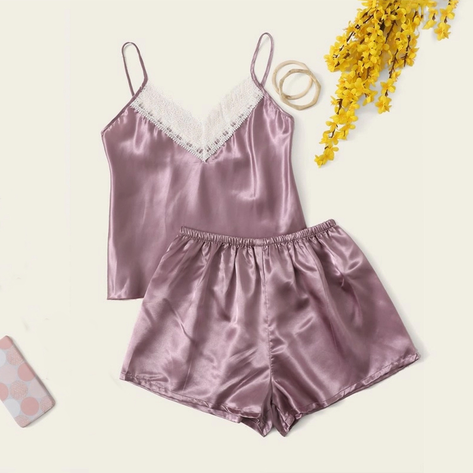 Satin Silk Solid Pajamas Women Sexy Lace Lingerie Sleepwear Cami Shorts Set Nightwear New Casual Paj