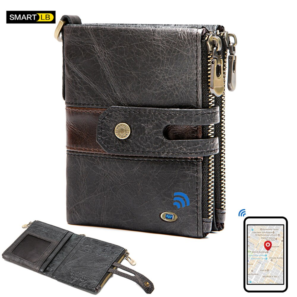 Smart Bluetooth TrackerGenuine Leather Mens Wallet Male Purse High Quality Card Holder with Coin Poc