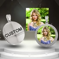 hip hop roundness custom photo memory iced bling cubic zirconia personalized necklace men women pendant customized jewelry gifts