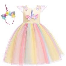 Kids Baby Girls Unicorn Pageant Dress Princess Party Bridesmaid Wedding Formal Gown Costume Headband