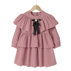 Kids Girls Cake Dress Pink 2021 New Arrival Children Princess Cute Dresses Black Lace Party Dress Age For 2-6Y Chinese Style
