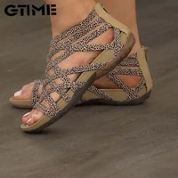 2021 summer women sandals round toe hollow out breathable flat sandals casual oeep top rome sandalias sjpae 126