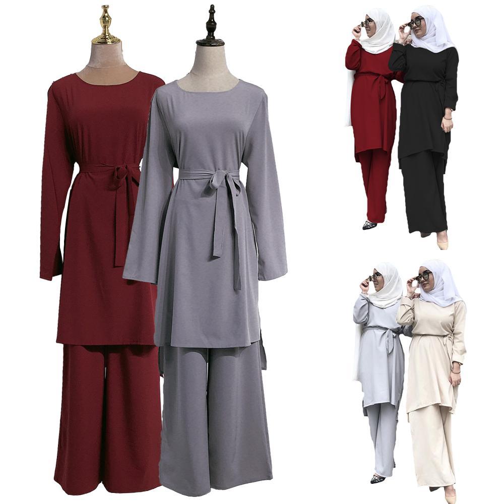 Musulmán Abaya mujeres de manga larga blusa Top pantalones sueltos Color sólido conjunto de ropa islámica árabe Tops + Pantalones 2019 otoño malayo turco