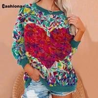cashiona plus size women elegant leisure casual t shirt long sleeve love print vintage 2021 spring autumn top clothing femme 3xl