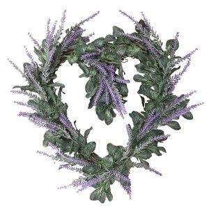Бледно-лиловый цветочный венок сердце Форма искусственный цветочный венок гирлянда для входная дверь стены Свадебные висячие украшения для дома