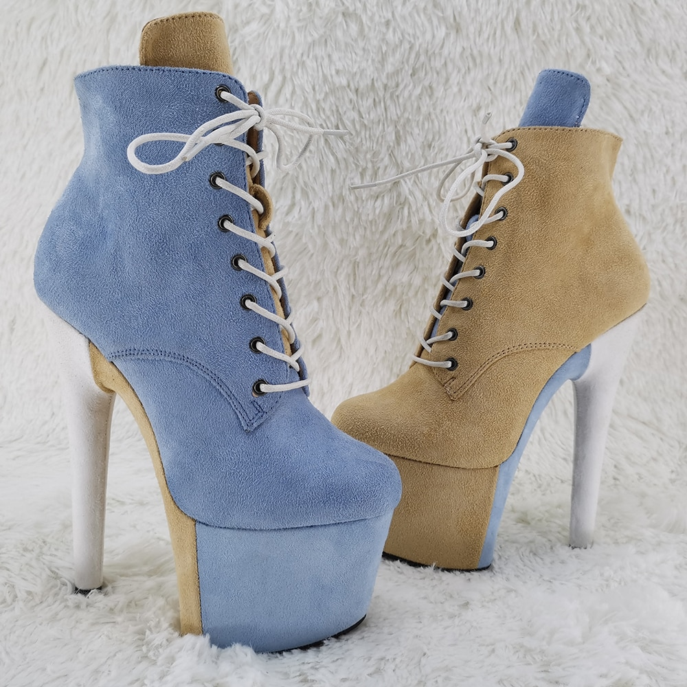 Leecabe 17CM/7inches Pole dancing shoes High Heel platform Boots Pole Dance boot