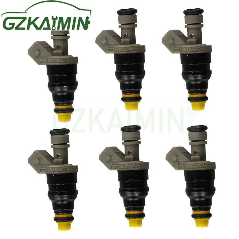 Conjunto de 6 alta qualidade novo bico injector combustível 0280155209 0000787323 para benz sl320 s320 v320 e320 e280 K-M