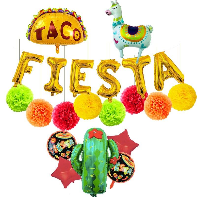 Мексиканские аксессуары для вечеринки, товары для дня рождения, декор Festa Mexicana, гелиевая фольга, кактус, тако, лама, воздушные шары, помпоны
