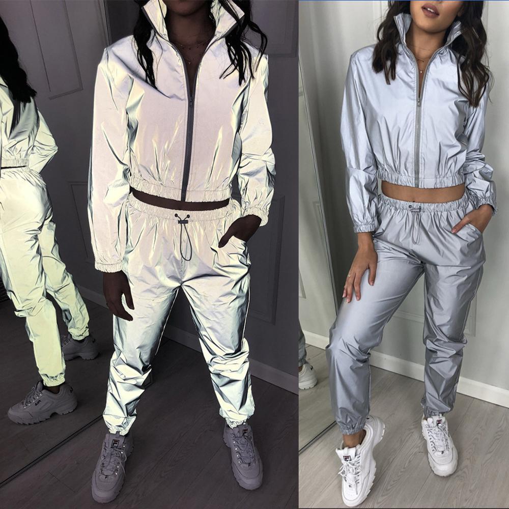 2020 Spring Autumn New Reflective Female Jacket Casual Sport Hooded Short Coat Women Crop Top Suit Feminino Manteau Femme