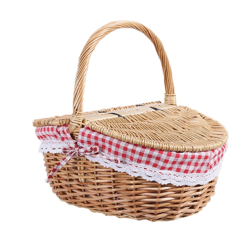 Country Style Wicker Picnic Basket Hamper with Lid and Handle & Liners for Picnics, Parties and BBQs