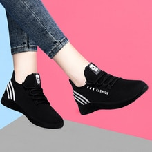 Women's Autumn Shoes New Ladies Vulcanized Sneakers Woman Lace Up Platform Walking Spring Female Kni