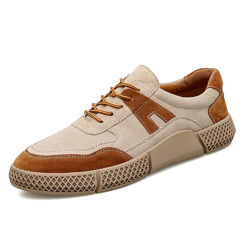 Retro Men's Casual Shoes Lace-up Flat Shoes Spring Summer Comfortable Casual Leather Shoes Men's Lace Up Sneakers % casual lace up color splice skate shoes