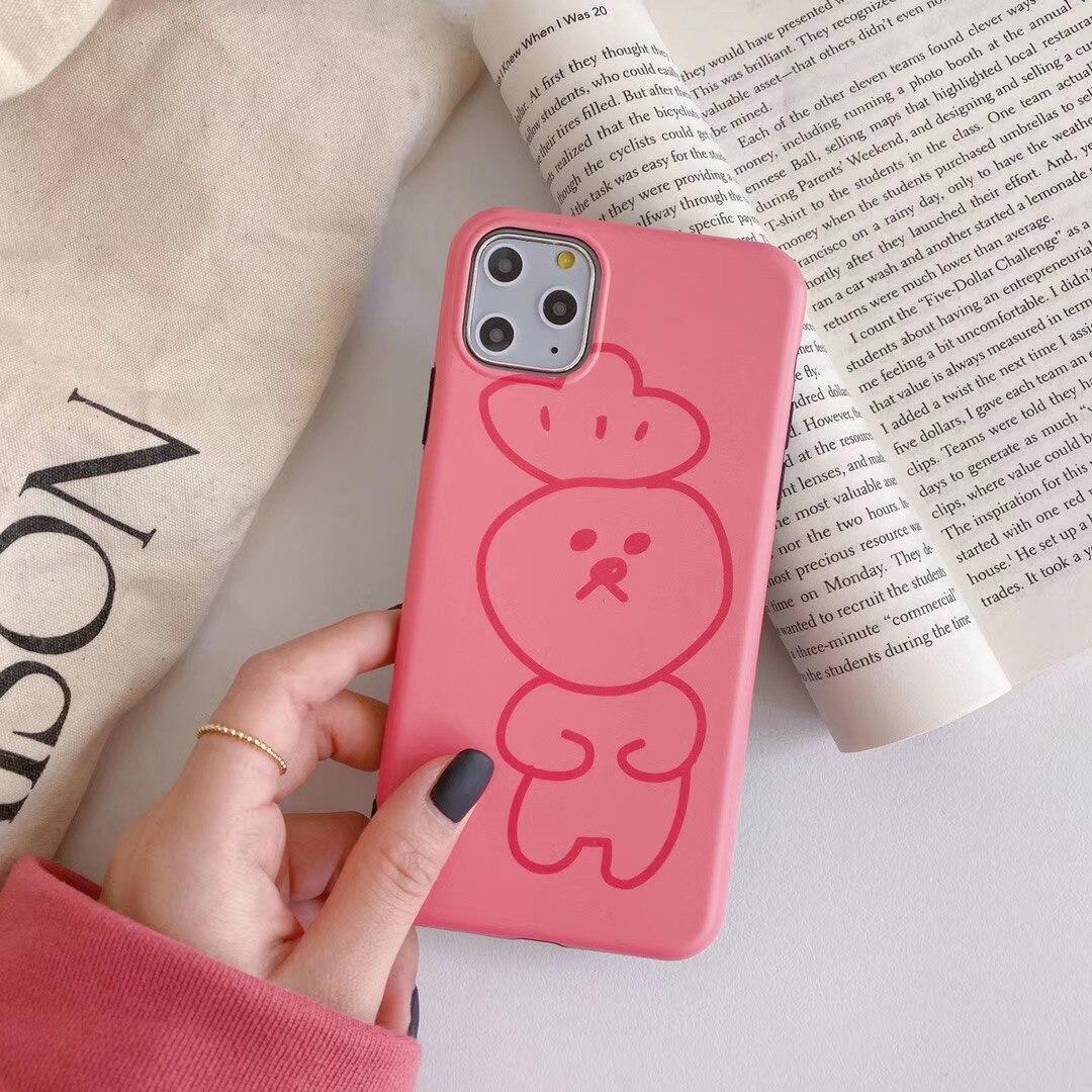 INS Corea lindo Rosa divertido expresión sombrero oso caja del teléfono para iPhone 11 pro MAX Xs MAX Xr X 6 6s 7 7 8 plus par suave cubierta posterior