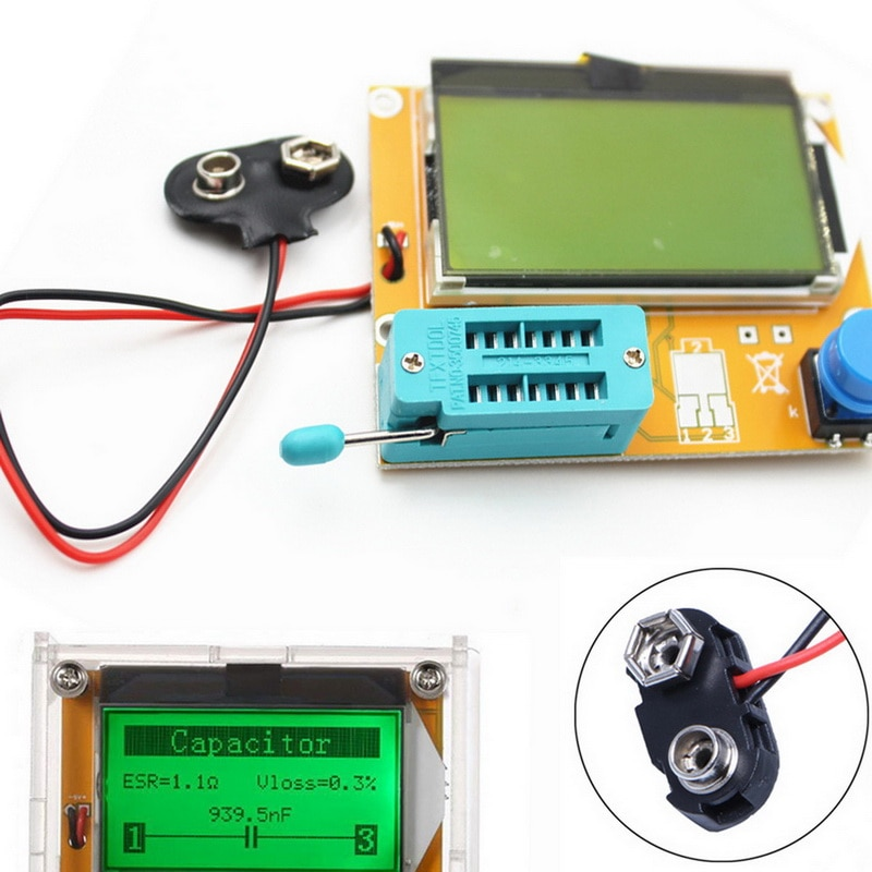 Lcr esr medidor mega328 digital transistor tester diodo triode capacitância resistor mos/pnp/npn + clipe de teste