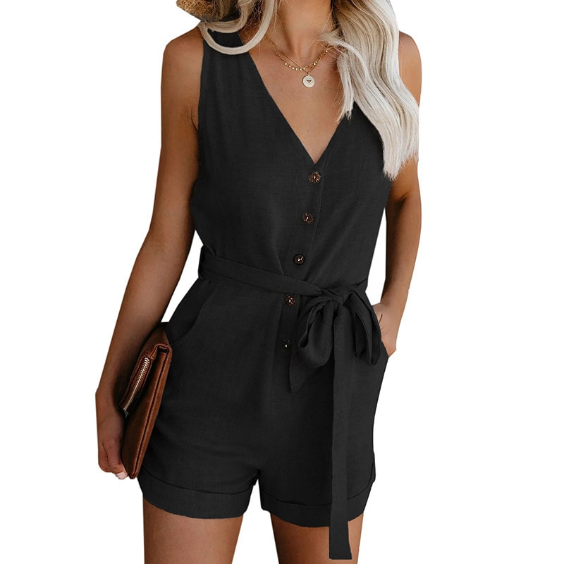 Jumpsuits for Women 2021 Plus Size  Casual V-neck Bow Belt  Romper Simplicity Fashion Thin  Playsuit