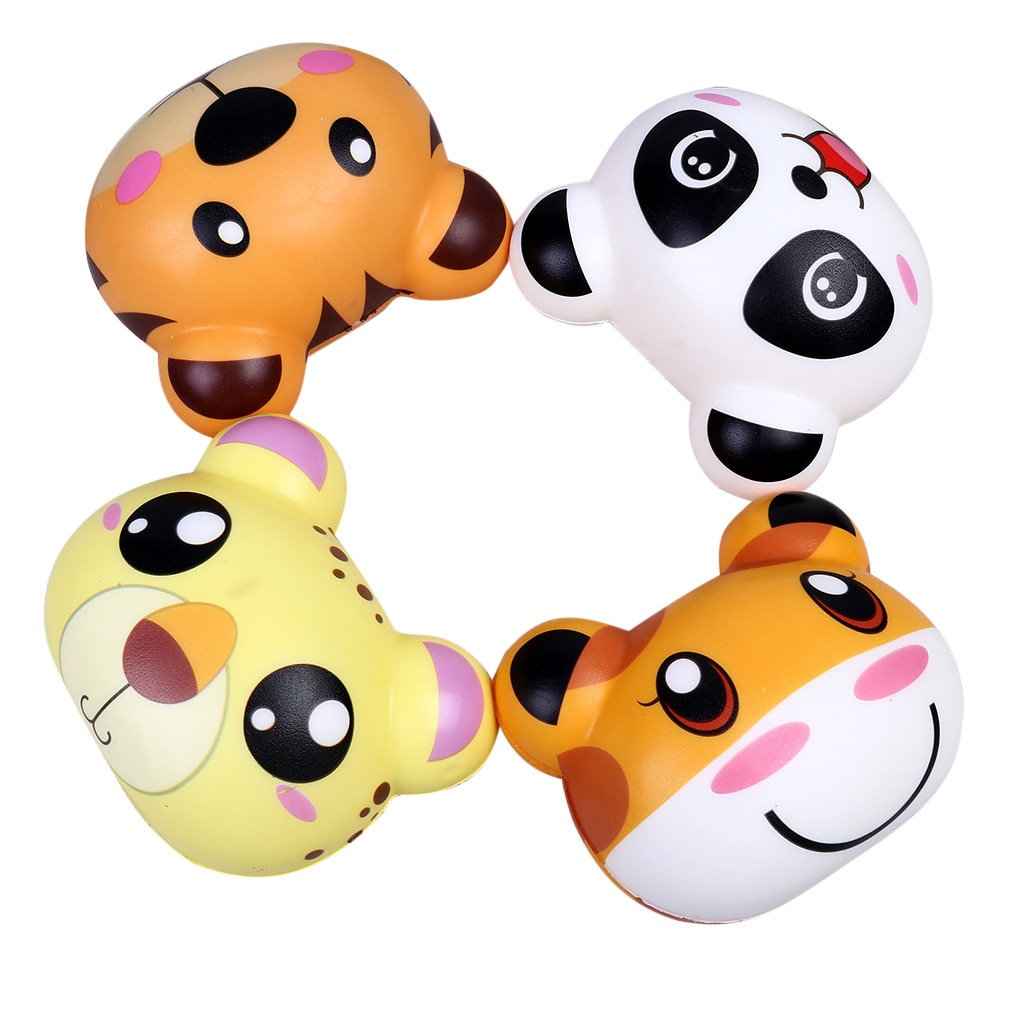 4 decompression rebound toys, cartoon animals, cute rotating slowly rising scent, relieve bear decompression toys игрушки X5 enlarge