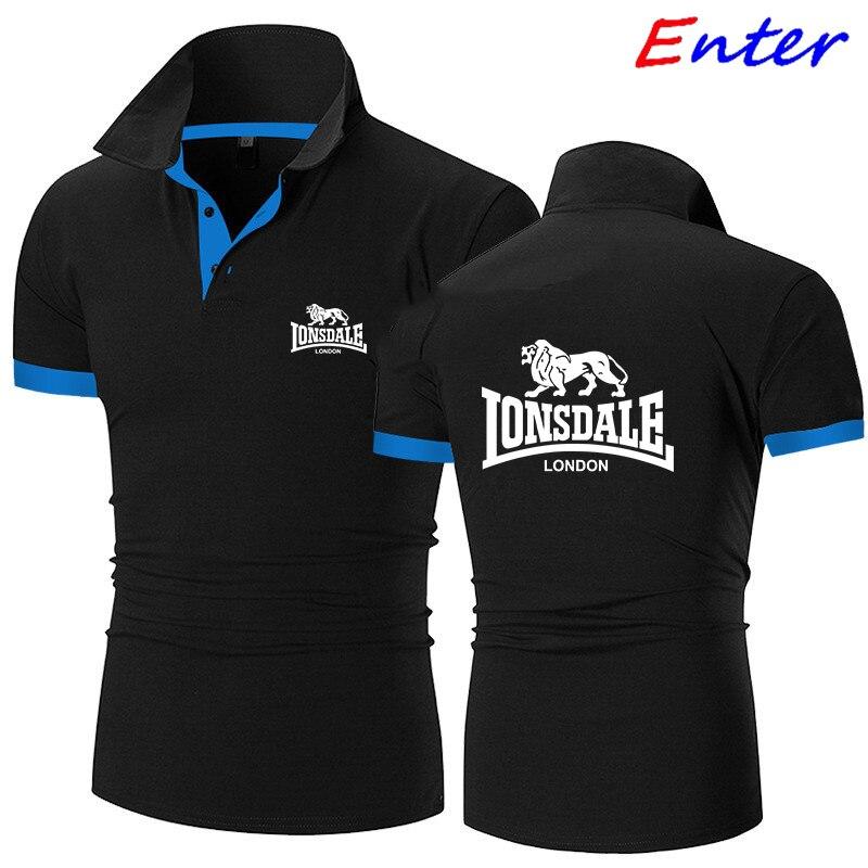 Рубашка-поло мужская летняя тянущаяся рубашка-поло LONSDALE с логотипом автомобиля мужской костюм-поло с коротким рукавом Высококачественная ...