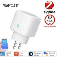Zigbee     prise intelligente 16a EU  Tuya Smart Life APP  fonctionne avec Alexa Google Home Assistant  controle vocal  moniteur dalimentation  synchronisation