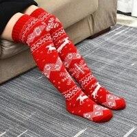 knitting 1 pair popular christmas element snowflake elk pattern socks socks christmas socks high tube for daily wear