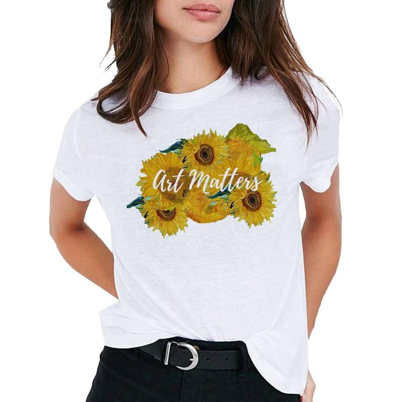 Футболка с принтом подсолнуха, футболка Ван Гога, Модный женский топ, футболка, футболка в стиле Харадзюку, женская футболка, топ, футболка