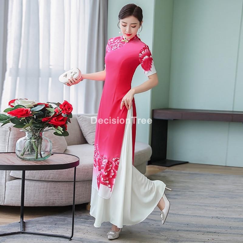 Ao dai cheongsam-فستان صيني أنيق ، 2021 ، ملابس تقليدية ، تشيباو ، فيتنامية ، آو داي ، فستان سهرة أنيق