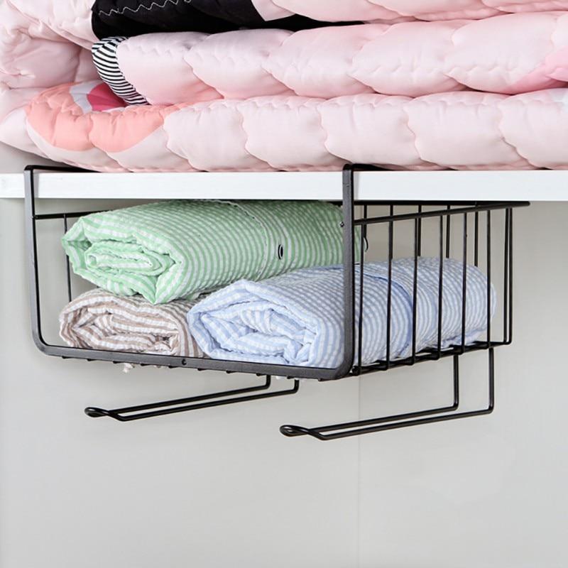 Casa concisa sob prateleira cesta de armazenamento rack de mesa de ferro armário pendurado rack organizador