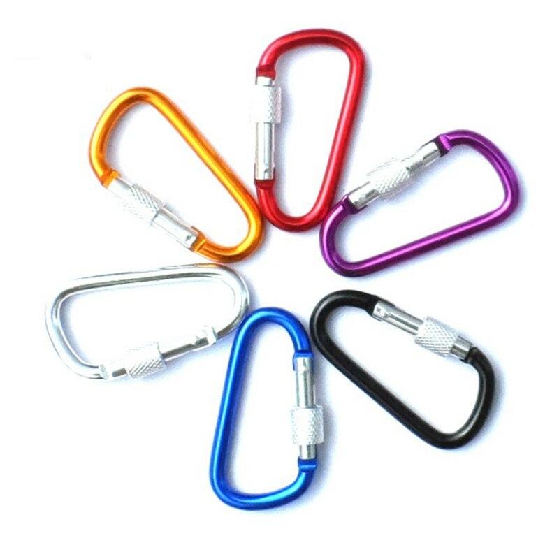 10 pçs de alumínio snap mosquetão d-ring chaveiro clipe chaveiro caminhadas acampamento montanhismo gancho acessórios de escalada
