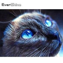 Evershine pintura diamante gato 5d diy quadrado completo diamante bordado animal strass arte decoração para casa