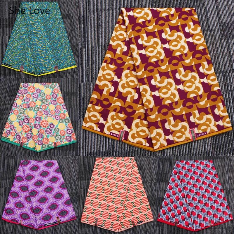 She Love 1Yard African Ankara Wax Fabric Nigerian 100% Polyester Wax Feather Print Fabric Diy Women Wedding Dress Making Crafts