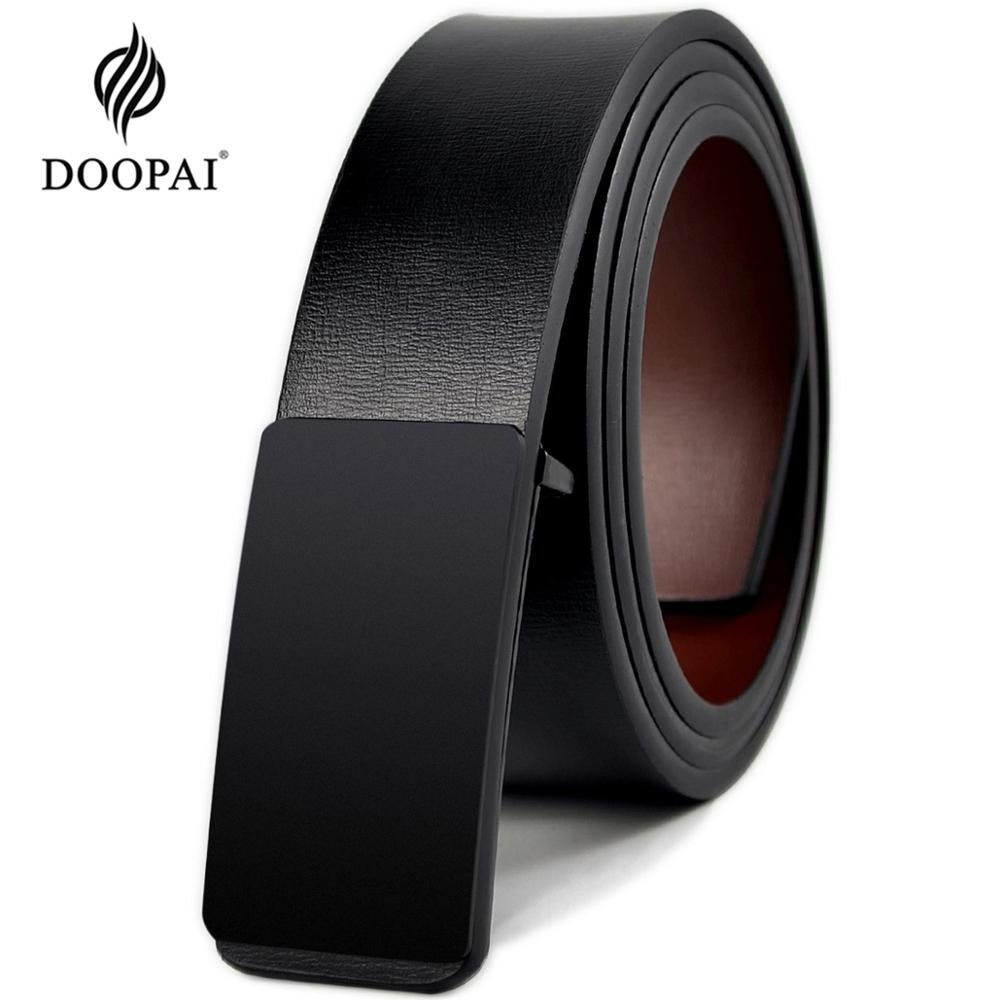 DOOPAI Mens Leather Belt Genuine Leather Slide Buckle Belts Leisure Fashion Cow Belts for Men Pants