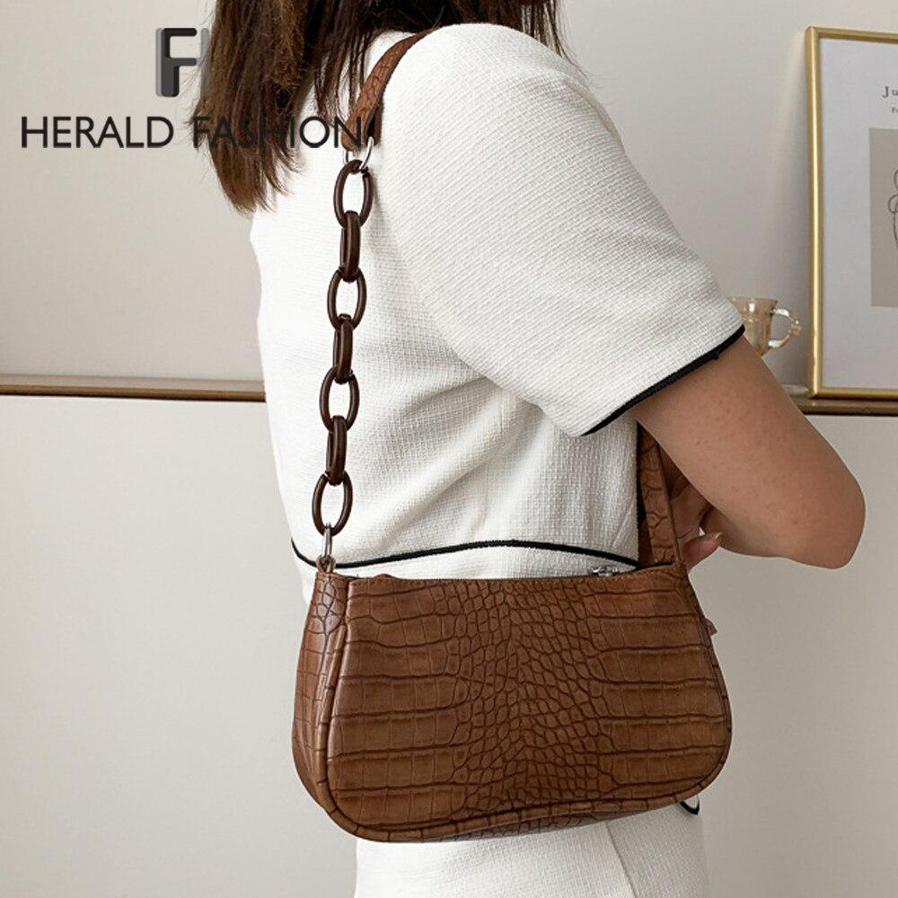 Fashion Crocodile Pattern Underarm Bags PU Leather Shoulder Bags for Women 2021 Chain Design Luxury