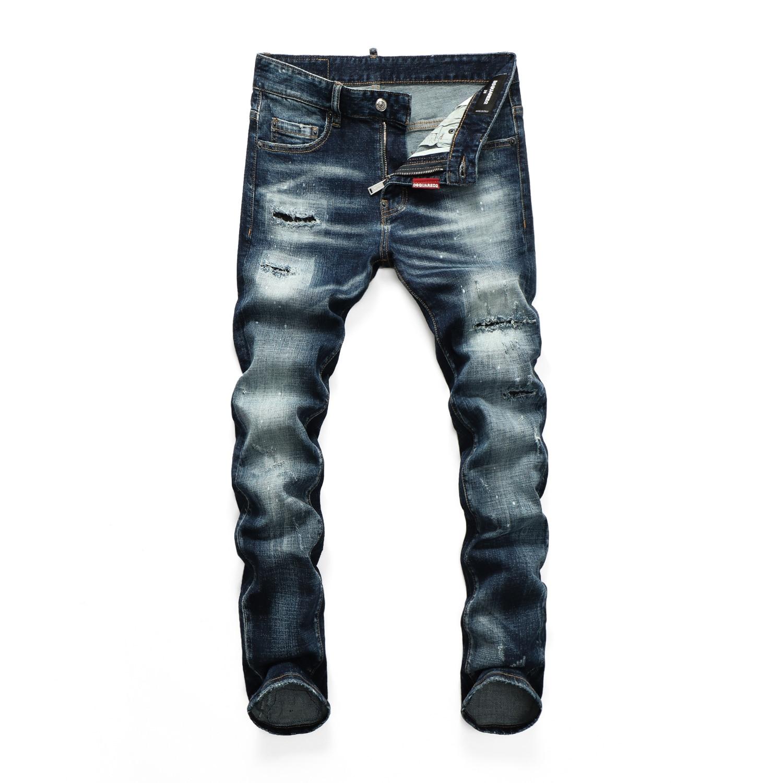 2021Hot Men's pants Dsquare ripped patch painted varnished men's  d2  jeans