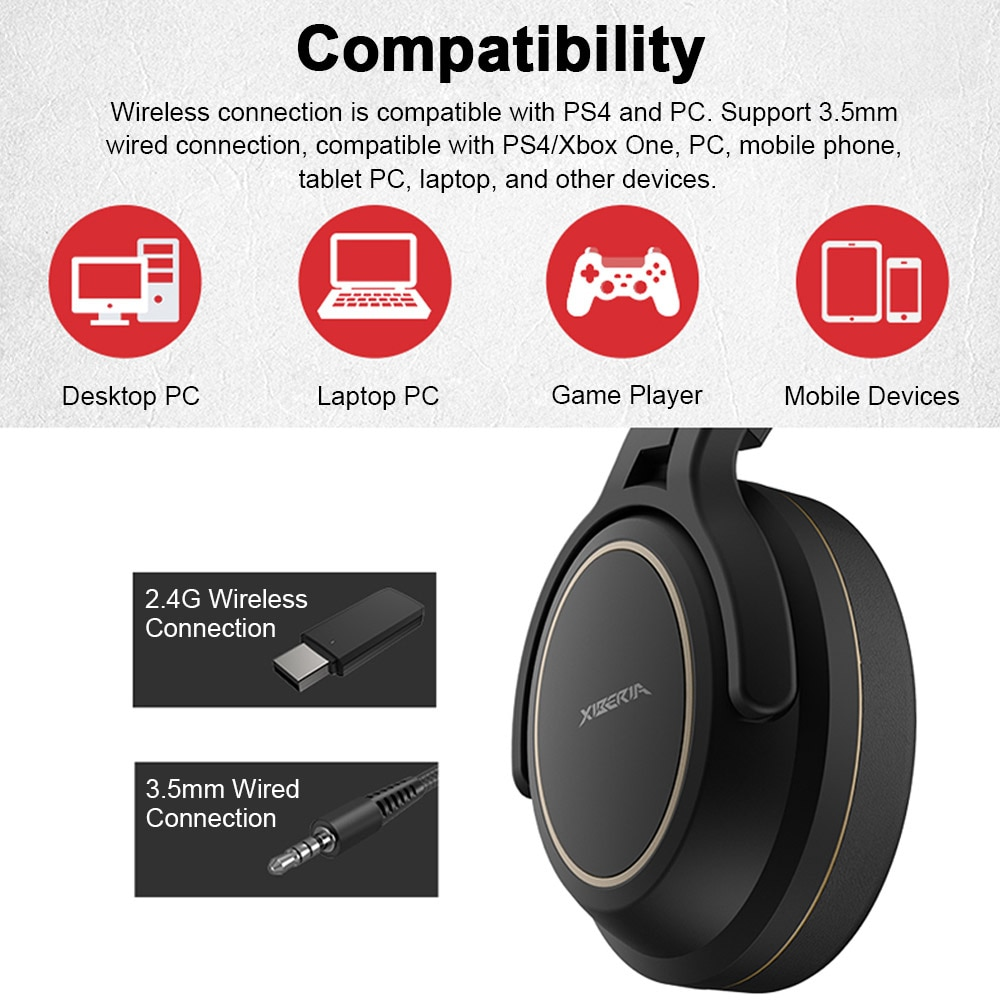 2.4GHz Wireless Gaming Headset with Transmitter Game Headphones Stereo Music Earphone Super Bass AUX-IN 3.5mm Wired Headset enlarge