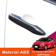 4 sztuk pokrywa klamki drzwi samochodu tapicerka naklejka do toyoty Yaris XP210 2020-Present zewnętrzne drzwi miska cekiny ramka dekoracyjna okładka