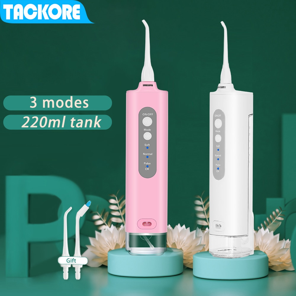 Tackore, irrigador dental portátil de agua, irrigador oral eléctrico, usb recargable, limpiador dental de agua de 220ML, impermeable