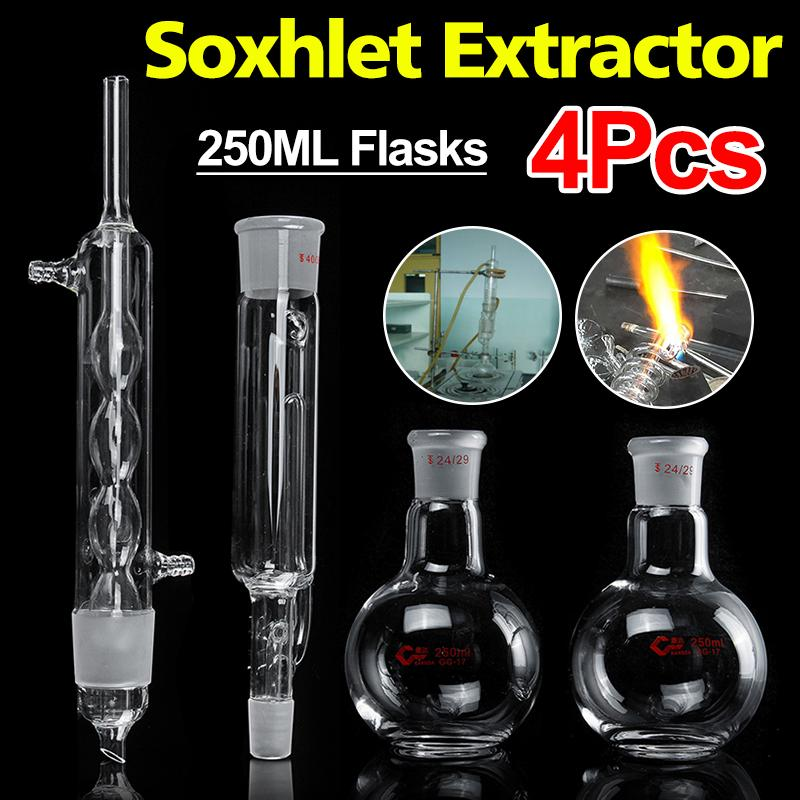 Professional 4Pcs 250ml Lab Glass Soxhlet Extractor Condenser Set + 24/29 Flat Bottom Flask 283MM 40/38 Tube Lab Glassware Kit