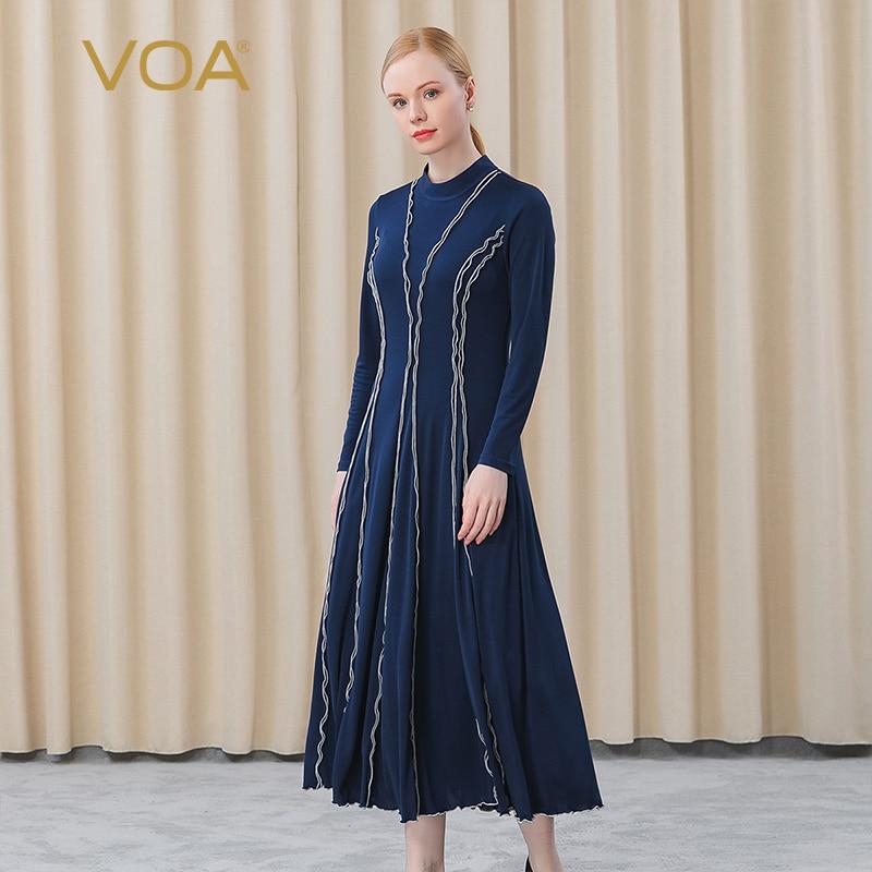 VOA-فستان حريري ثقيل مزدوج محبوك ، ياقة نصف عالية ، مخطط ، أكمام طويلة ، متوسط إلى طويل ، للنساء ، AE675 ، 2021